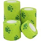 Pinji 犬用包帯 伸縮 猫 犬 ペット用 包帯 粘着包帯 自己粘着 粘着テープ 4サイズ 6色 ストラップバンド 人にも使える ガーゼ テープ 怪我予防 老犬 介護 床ずれ テーピング 爪プリント グリーン
