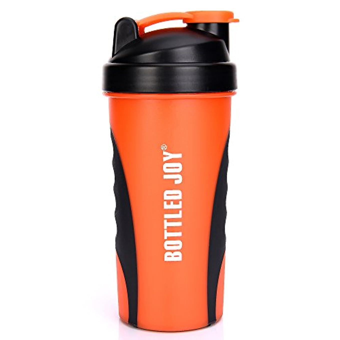 むき出しマルコポーロつかいますBOTTLED JOY プロテインシェイカーボトル グリップ 漏れ防止 スポーツミキサー スポーツ 栄養サプリメント ミックスシェイクボトル すべり止め 27オンス 800ml オレンジ