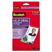 Scotch自己シールLaminating Pouches w /クリップ、12.5ミリ、215/ 16x 41/ 16、25/パック