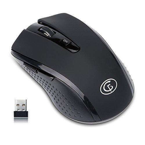 ワイヤレスマウス 2.4GHz ポータブル 無線マウス USBレシーバー付き 3段階感度調整可能 6ボタン ノートブック PCラップトップ コンピューター用 ブラック