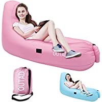 Inflatable LoungerソファーSleepingバッグ、OUTAD圧縮空気ベッド、ポータブル椅子、エアマットレスベッド。Ideal For Lounging、キャンプ、ビーチ、釣り、子供、Chilling、パーティ、水泳プール L(11.44in)xW(9.33in) ピンク OUTAD