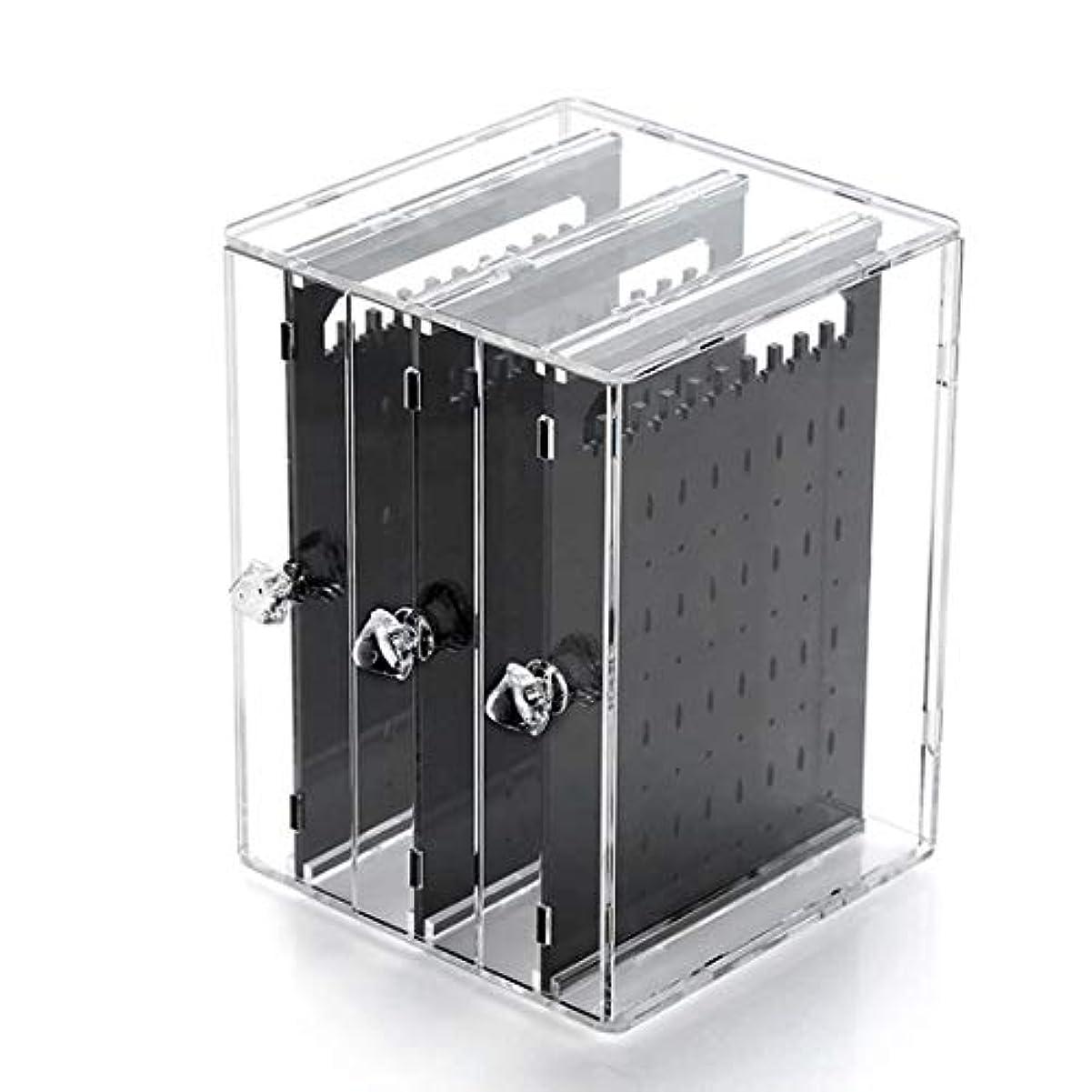 楽なトレード戸棚Ryohan ピアス&イアリングスタンド ジュエリー収納 アクリル樹脂 引き出し式ピアス収納スタンド アクセサリー収納 (ブラック)