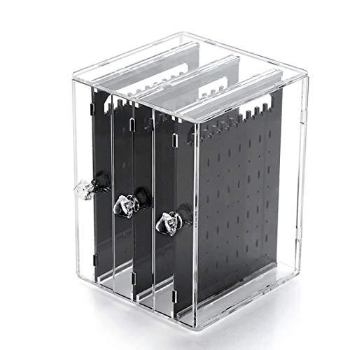 Ryohan ピアス&イアリングスタンド ジュエリー収納 アクリル樹脂 引き出し式ピアス収納スタンド アクセサリー収納 (ブラック)