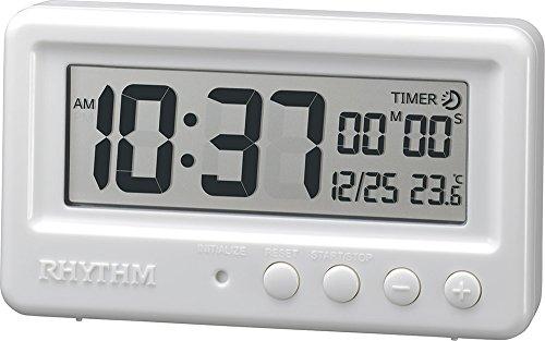 置き時計 デジタル時計 防水 タイマー付き アクアプルーフ 白 リズム時計 8RDA72SR03