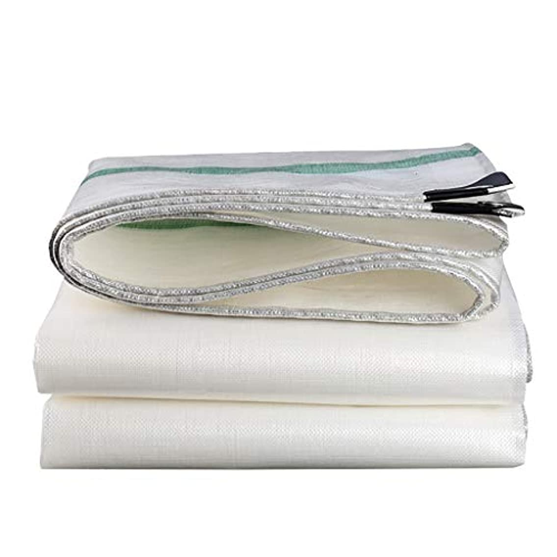 征服する膜コントロールタープ グロメットと強化エッジ付きサバイバルテントヘビーデューティターポリン、プラスチック製防水シート4m×8m 15ミル厚210 g/m² テント (Color : White, Size : 4m×8m)