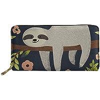 HUGS IDEA Animal Design Women's Long Wallet Sloth Printed Zipper PU Leather Purse