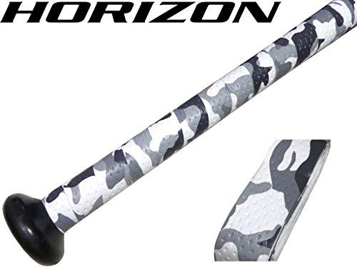 【HORIZON ホライズン】1本 バット用 極上の握り心地 手が滑らない 迷彩カモフラ 衝撃吸収グリップテープ ホワイト 両面テープエンドテープ付き ソフトボール