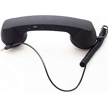 (fasley) スマホ 受話器 首に挟める アイフォン アンドロイド レトロ 電話機 3.5mm プラグ 対応 (ブラック)