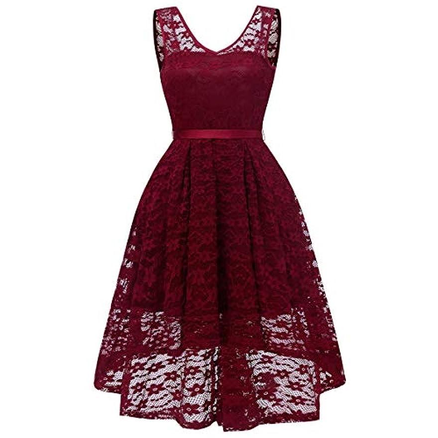 割り当てるポーチ変わるBlackfell 女性のドレスVネック半袖ボウレースヴィンテージドレス