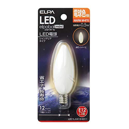 ELPA LED装飾電球 シャンデリア球タイプ 0.5W/LDC1LGE12G311