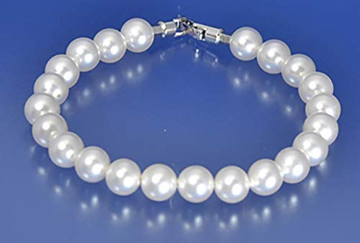 誰連想バイパスDr.Silicone 真珠スタイル健康パワーブレスレット(白色8mm珠19cm):身に着けると遠赤外線が良い影響をもたらします!