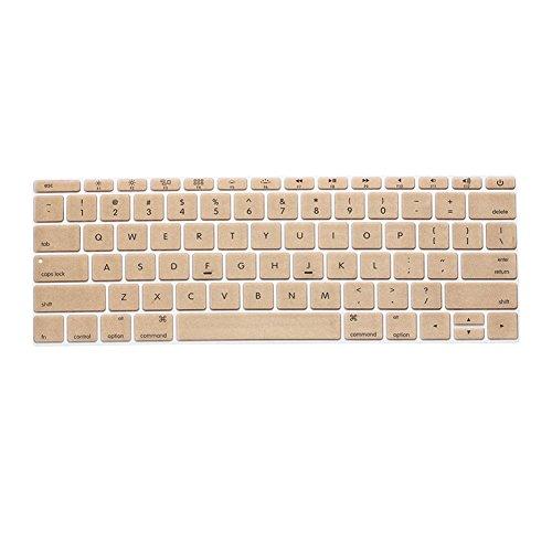 Topfit USキーボード(英語配列) JISキーボード(日本語版)用 MacBook Air Pro Retian 13/15/17インチ対応 カラフルキーボードシート 防塵 防水 マックブック Appleノート用 パソコンアクセサリー キーボードマルチカバー (金色)