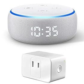 Newモデル Echo Dot (エコードット)第3世代 - スマートスピーカー時計付き with Alexa、サンドストーン + Meross WIFIスマートプラグ ホワイト 1個入り