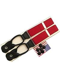 サスペンダー メンズ 紳士 USA製 Braces ブレイス ブレイシーズ Y型 Yバック ボタン止め 伸縮素材 Red レッド 赤 B042