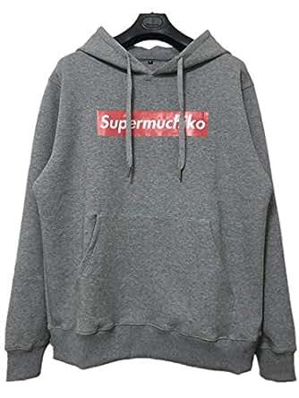 「Supermuchiko」パーカー (灰, XL)