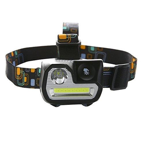 Ploarnovo LEDヘッドライト 超強力 スポットライト センサー機能 明るさ200ルーメン 5つ点灯モード 電池式 防水 角度調整 アウトドア活動に適用 (ブラック)