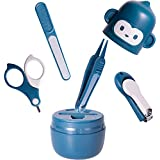Baby Nail Kit Safety First - Baby Nail Care Grooming Kit with Cute Case, Baby Nail Set Clippers Kit Scissor Nail File & Tweezer, 4 in 1 Nail Trimmer Kit for Boy and Girl