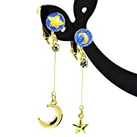 イヤリング 月 ムーン 星 スター 宇宙 惑星 スウィング ラメ キラキラ レジン ゴールド【ブルー】