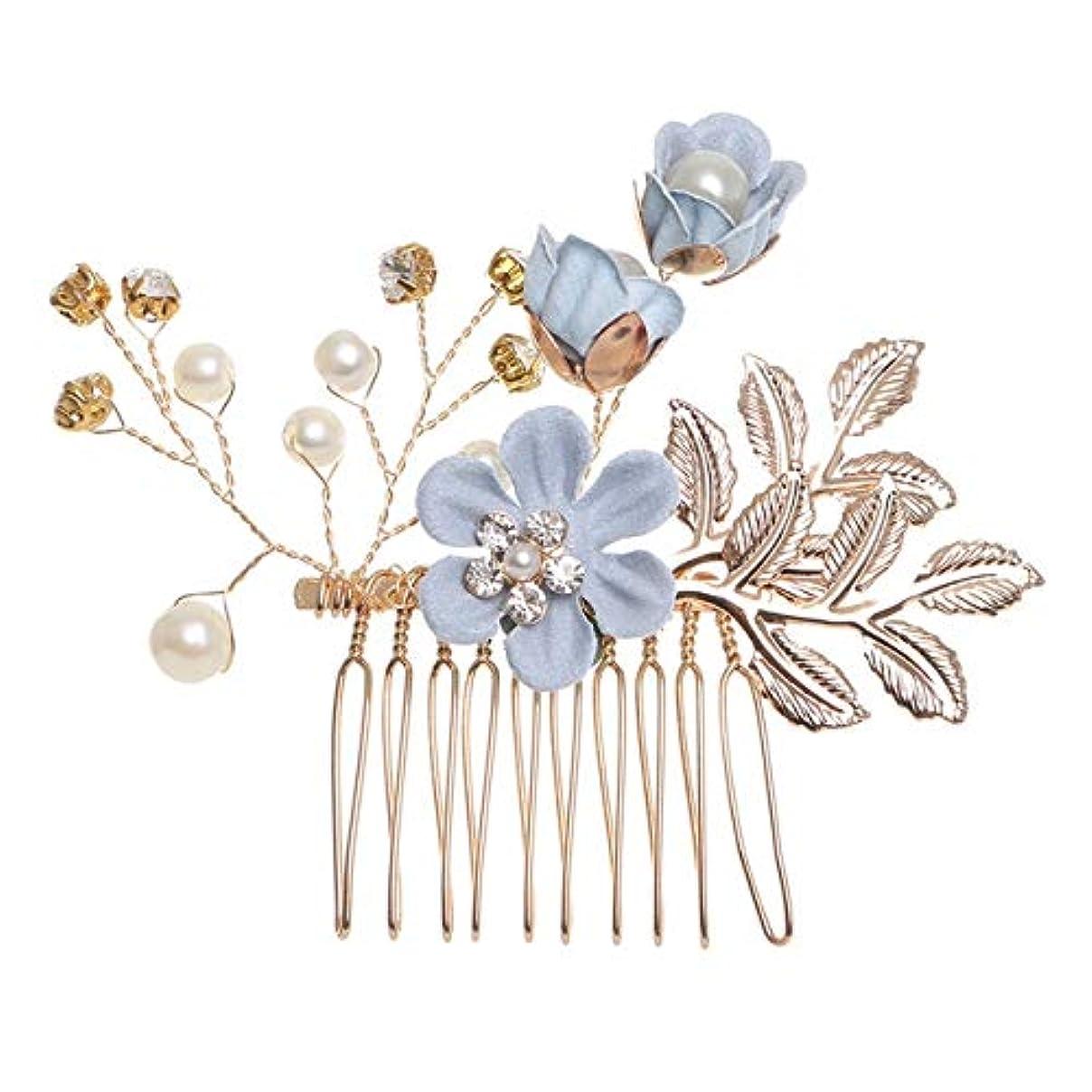 不要繊細可能にするHairpinheair YHMファッションフラワーヘアコームヘッドドレスウエディングブライダルウェディングヘアアクセサリー金箔ヘアジュエリーヘアピン(ブルー1フラワー) (色 : Blue hair comb)