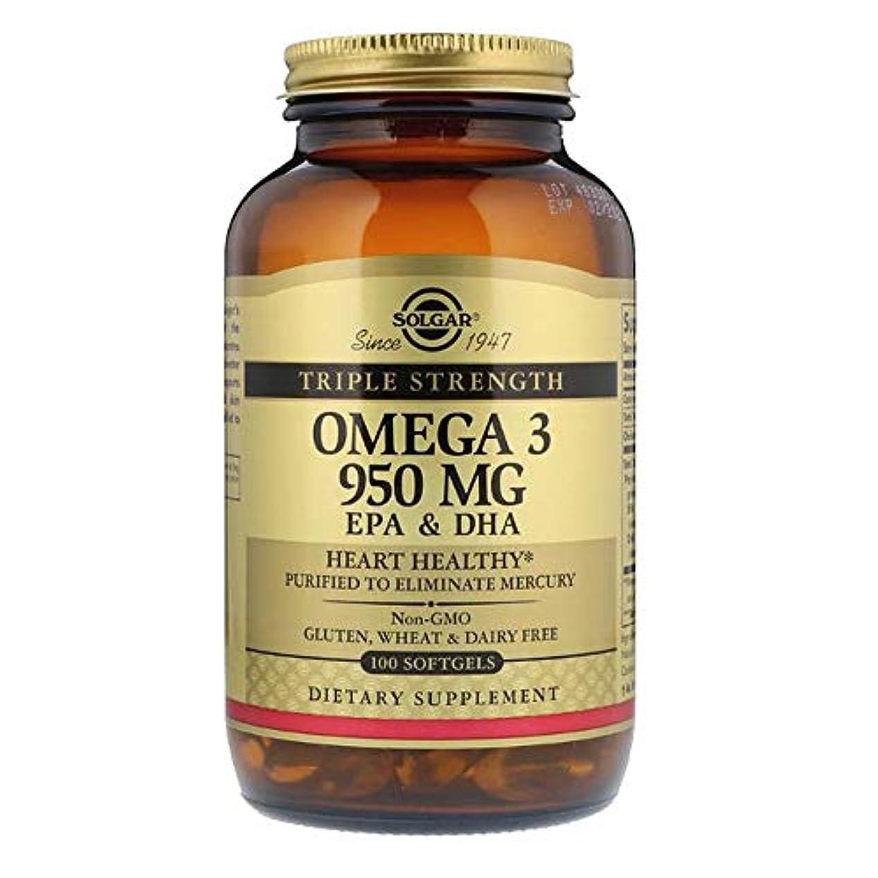 アウトドア違反する発表するSolgar オメガ 3 EPA DHA トリプルストレングス 950mg 100ソフトジェル 【アメリカ直送】