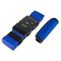 ミヨシ スーツケースベルト ブルー W5cm×H186cm スーツケースベルトとハンドグリップのセット MBZ-MZ03/BL