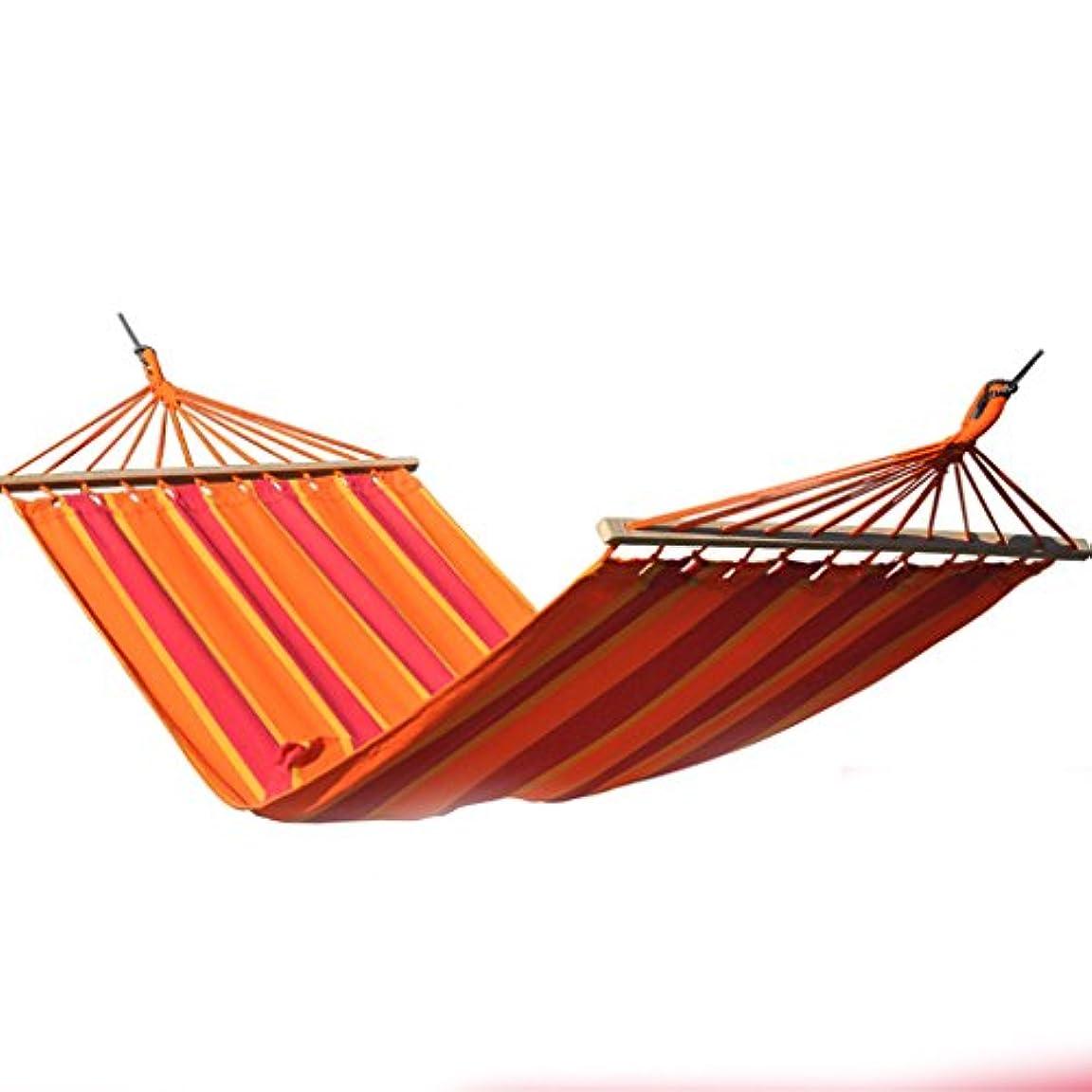 刺す発揮する砂のRMJAI ハンモックキャンプアウトドアハンモックスティックキャンバス通気性ポータブルレジャーシングルハンモックブルーガーデンハンモックガーデンハンモック200x100(78.7x39.4in)オレンジ