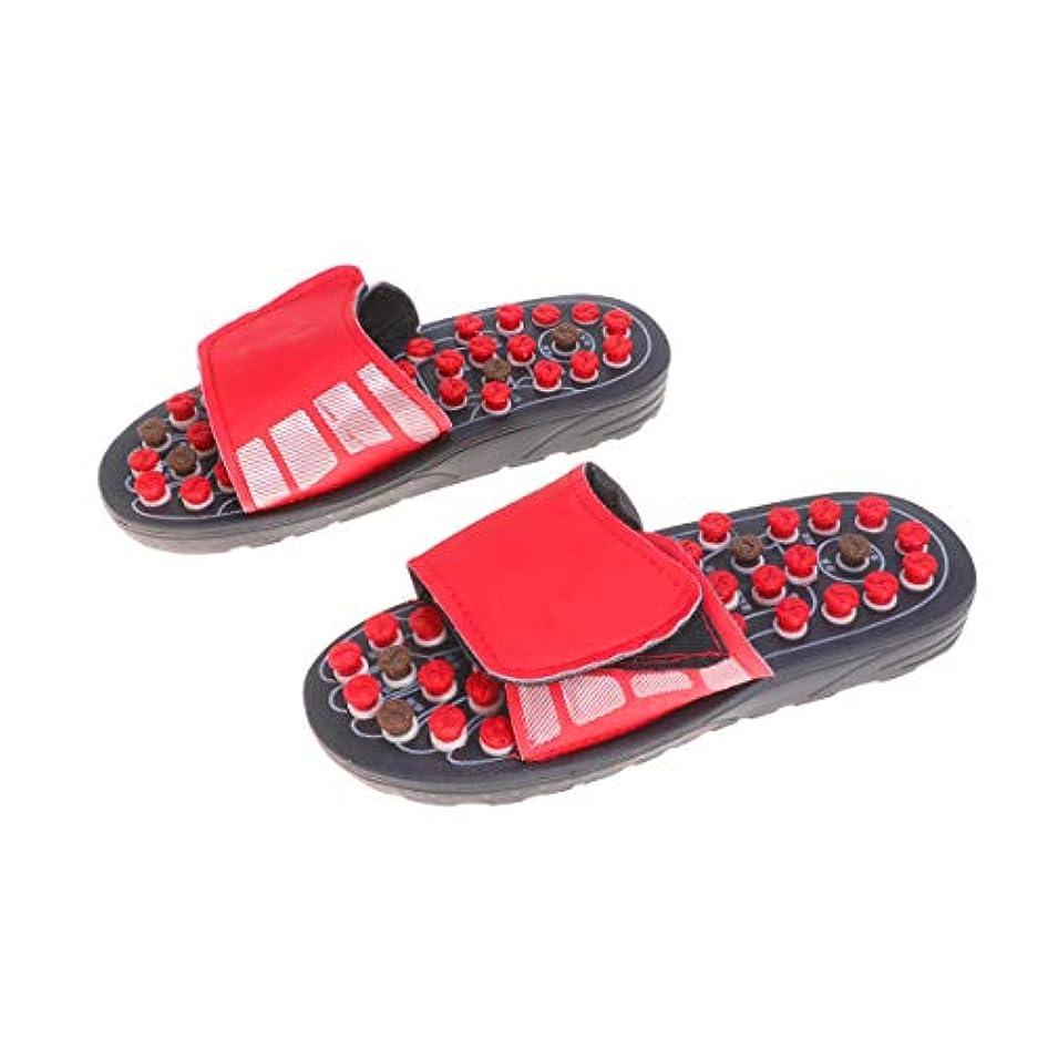 サーバント装置海軍Healifty 1Pair Acupressure Plantar Fasciitis Foot Massager Massage Slippers Shoes Reflexology Sandals Pain Relief Relaxation Health Care Summer Slippers for Men Women Size 44-45(Red)