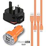 EMPORIO ARMANI オレンジ Orange MicroUSBマルチチャージャーパック4個1 x 1000 mAh 3ピンUKメインズアダプタープラグx 2 FLAT 1.1メーターUSB 2.0充電ケーブルSamsung M7500 Emporio Armani用デュアルポートUSB 2.1 / 1アンプカーチャージャーアダプター1個