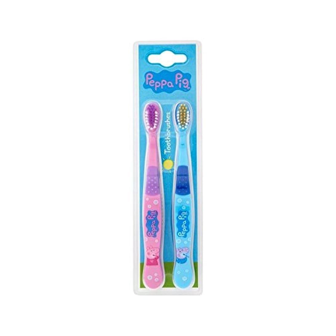 かろうじて食物アクティビティ1パックツイン歯ブラシ2 (Peppa Pig) (x 2) - Peppa Pig Twin Toothbrush 2 per pack (Pack of 2) [並行輸入品]