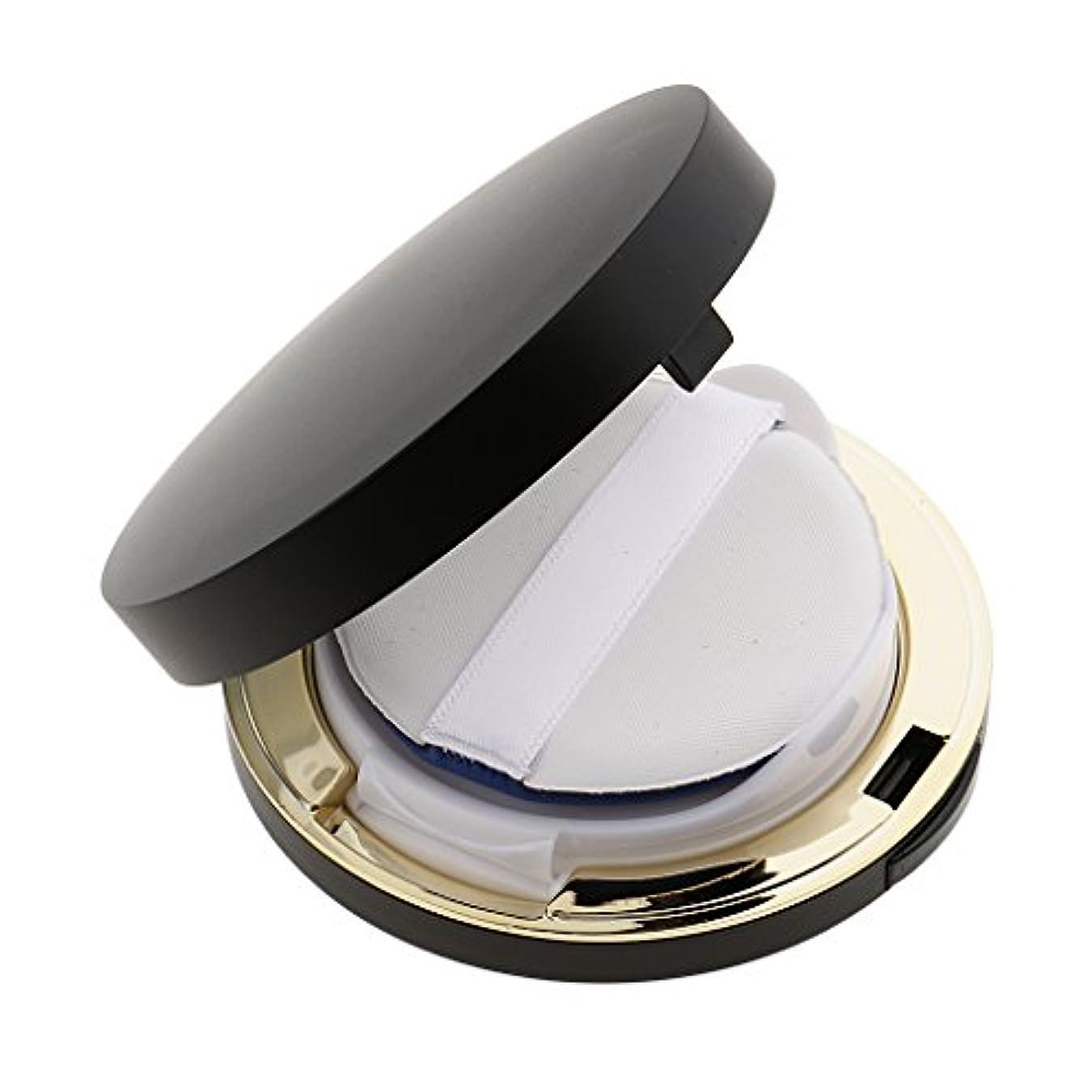 コンパクトトロリーパラダイスPerfk メイクアップ エアクッションケース パウダー パフ パフボックス ラウンド BBクリーム 詰替え 便利 3色選べる - ブラック