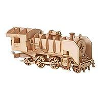 YeahiBaby 子供と大人のための3D木製パズルスチームモデルトレインジグソーパズル3D DIYアセンブリモデルのおもちゃ