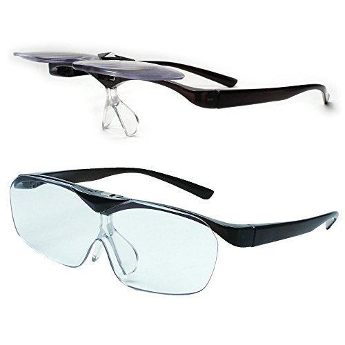 【安心の一般医療機器として正式認定】ハネアゲルーペ メガネ型 ルーペ 拡大鏡 跳ね上げタイプ ルーペ SMARTEYE スマートアイ ブルーライトカット メガネの上からも掛けられる (ダークグレー:FSL-01-1)
