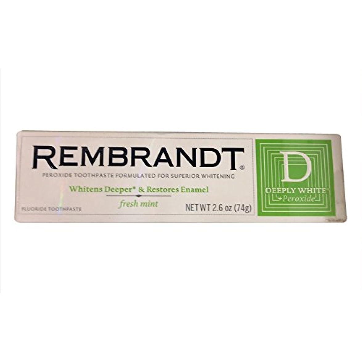 朝急流トレッドRembrandt プラス深くホワイトプラス過酸化フッ化物の歯磨き粉フレッシュミント、2.6オズ、(12パック) 12のパック