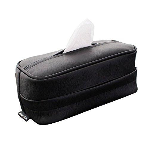 ティッシュカバー・ティッシュボックス・(車用、家用可、ヘッドレスト サンバイザー アームレストに取り付け)ティッシュケース (本革調 ブラック)