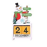 Hayder クリスマス カレンダー 飾り 贈り物 テーブル 装飾 プレゼント 木製 (雪だるま)