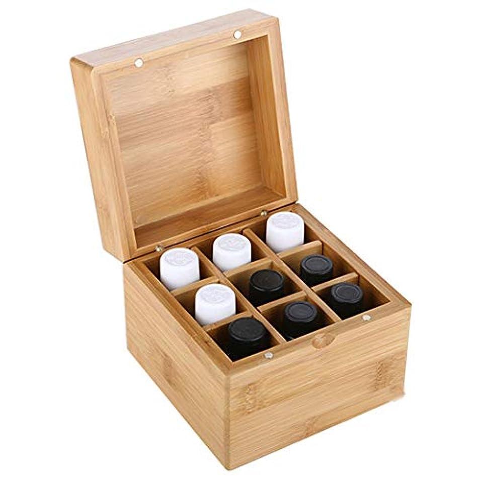 横向きレンディション不健全エッセンシャルオイルの保管 9スロットエッセンシャルオイルボックス木製収納ケースは、あなたの油安全保護さを保つ保護します (色 : Natural, サイズ : 11.5X11.5X8.3CM)