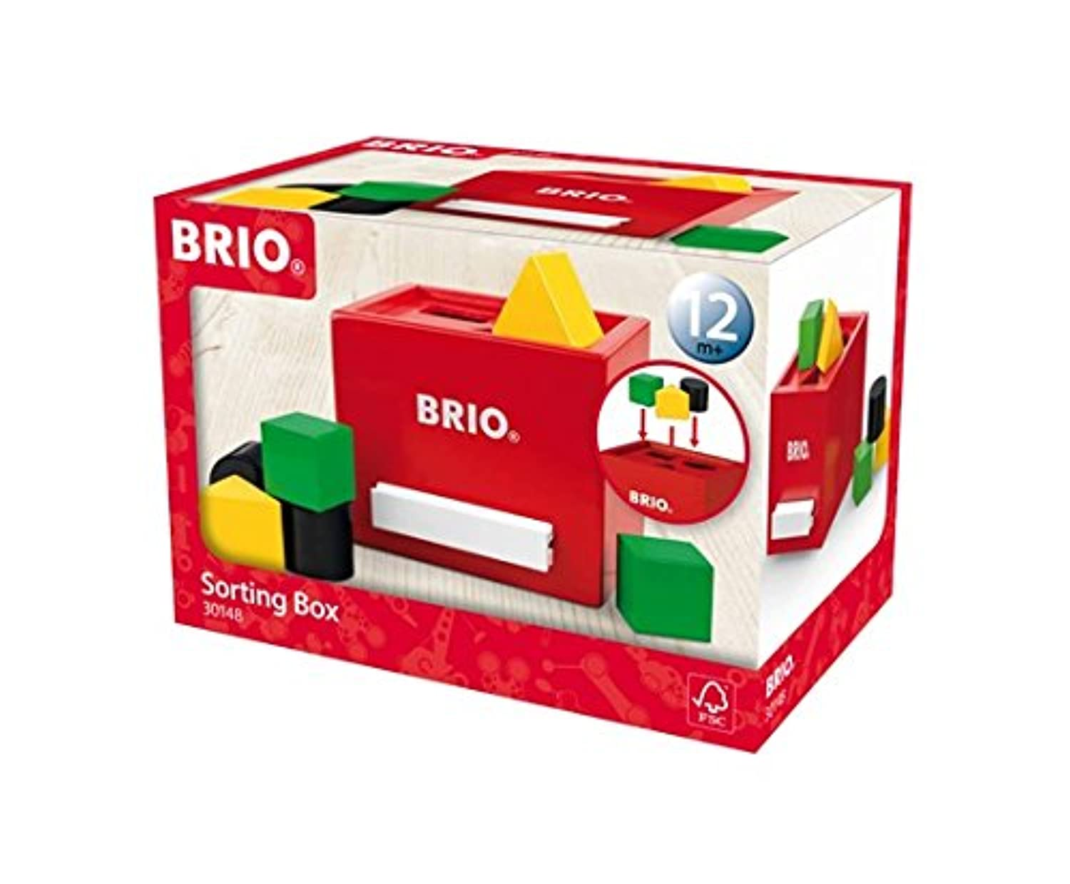 Brio 7 Piece木製ソートボックス幼児用Toy with正方形三角形と円