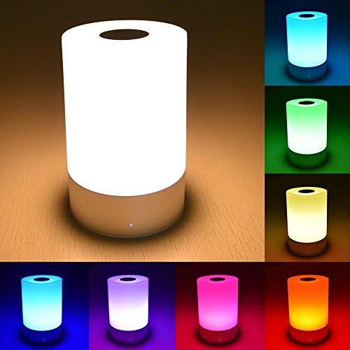 DECKEY テーブルランプ ベッドサイドランプ LED常夜灯 USB充電 3段階調光 7色変換 タッチセンサー シェードランプ 停電対策 癒し ストレス解消 18ヶ月保証