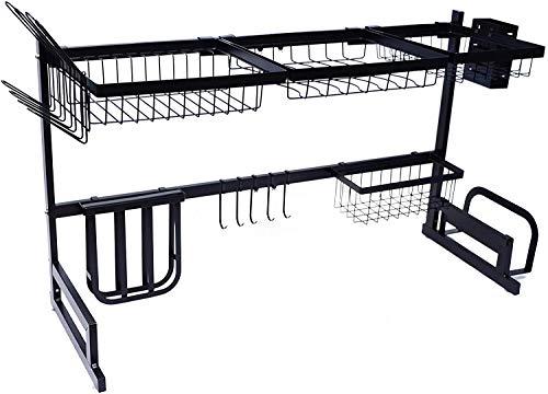 AKOZLIN 食器乾燥ラック シンク 上 水切りラック 皿乾燥ラック 食器 水切り かご 水切り シンク 上 キッチン収納 シンク ラック シンク上ディスプレイスタンド 皿ラック皿 ドレインラック キッチン用品 食器類食器収納ボックス 収納棚 201ステンレス鋼 組み立て簡単 省スペース有効活用 多機能 ブラック 長さ調整可能(85~100)×32×52CM