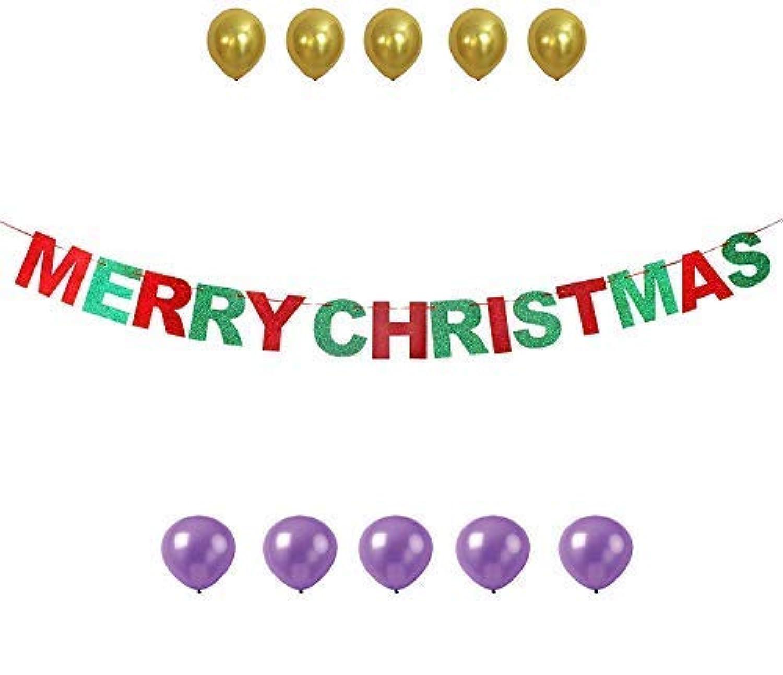 GrantParty メリークリスマス レッド&グリーン キラキラバン バナー 陽気な文字ハウス アウトドア インドア 写真 小道具 デコレーション サイン 風船10個付き