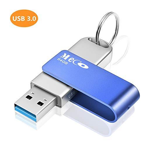 MECO USBメモリ USB3.0 64GB フラッシュドライブ 高速データ転送 金属 回転式 メモリースティック ストラップ付き キーリング フラッシュメモリ 転送/共有/保存 MacBook/Windows/ノートパソコン対応