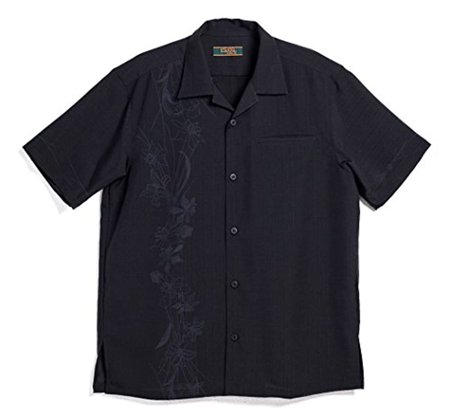 ロール用量ステレオMAJUN (マジュン) かりゆしウェア アロハシャツ かりゆし 結婚式 メンズ 半袖シャツ ボタンダウン 幾何百合(開襟) ブラック LL
