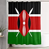 Kenya Flag 浴室の窓の装飾のための生地のホックが付いているポリエステル防水シャワー・カーテン60X72in