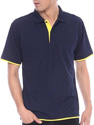 ティーシャツドットエスティーポロシャツドライ半袖レイヤードポケット付きUVカット4.4ozメンズネイビー×イエロー3L