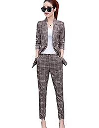 [美しいです] スーツ 洋服 レディース コート 二点セット ビジネス チェック柄 九分パンツ セット 春 秋 ウエスト締める イングランド風 スリム