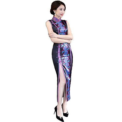 (福丸) チャイナドレス ロング シルク 花柄 ノースリーブ チャイナ服 ドレス 結婚式 セクシー 5l (XL, ブラック)