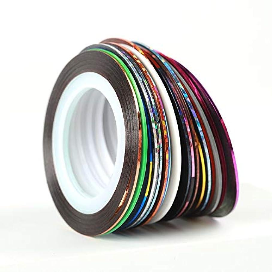 フォーム貢献する保守的30个ストライピングテープラインネイルアートデコレーションステッカーDIYネイルステッカーミックス色ロールス
