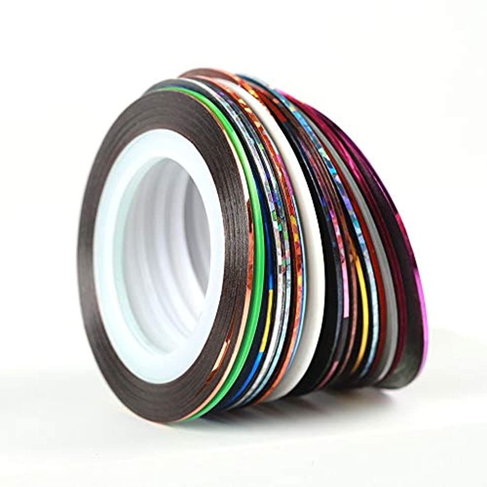 非効率的な医師膨らませる30个ストライピングテープラインネイルアートデコレーションステッカーDIYネイルステッカーミックス色ロールス
