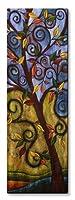 All My Walls 0099ME00040 Curly Tree Landscape Metal Wall Art, Purpel, Green & Brown