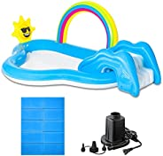 FIELDOOR レインボー&シャイン・すべり台1個付 スライドプール シャワー付 クッション 水遊び